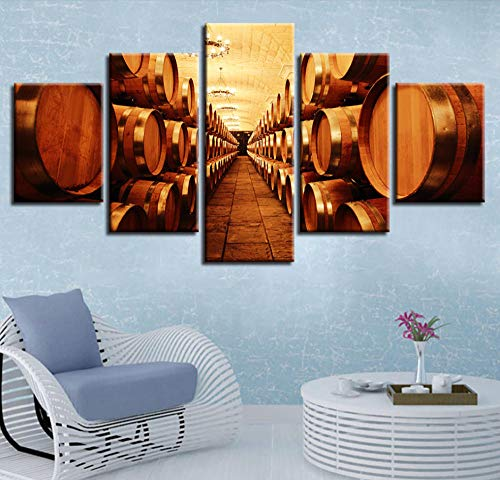 FEISENWLH Five Panel Canvas Painting 5 Wine Cellar Oak Barrel Pictures Canvas Painting Kitchen Decoration Modular Frameless Hd Print Restaurant Wall Art Poster