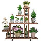 ZJⓇ Flower Stand Flower Stand - Shelf Wooden Standing Flower Shelf With Wheel Garden Plant Display For Plant Pots Holder Garden Storage Indoor Decoration Rack For Balcony,Garden And Commercial 98x25x88cm #