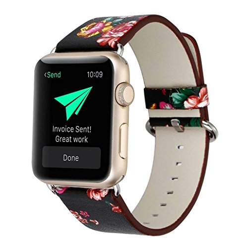 01 Apple - YOSWAN Bracelet for Apple Watch, National Black White Floral Printed Leather Watch Band 38mm 42mm Strap for Apple Watch Flower Design Wrist Watch Bracelet (Black+ Red Flower, 38mm)