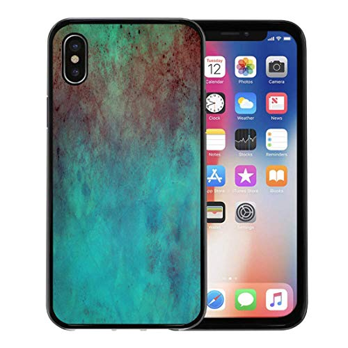 (Semtomn Phone Case for Apple iPhone Xs case,Brown Patina Old Blue Red and Green Stains Distressed Vintage Pink Paint Blobs for iPhone X Case,Rubber Border Protective Case,Black)