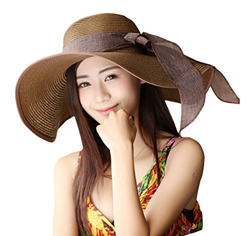 Women's Summer Wide Brim Beach Hats Sexy Chapeau Large Floppy Sun Caps (Dark Brown)