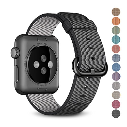 Woven Nylon Replacement Band for the Apple Watch by Pantheon, Women's or Men's, Strap fits the 38mm or 42mm for Apple iWatch 1, 2, 3 and Nike edition (38, Solid (Or Is Women Watch)