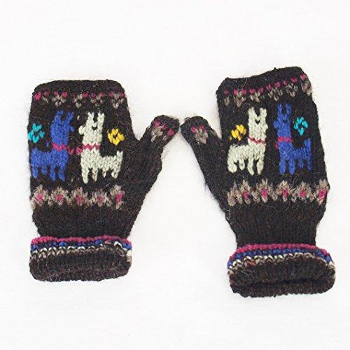 ハンドブック鎮痛剤無視できる手紡ぎアルパカの高級手袋  (黒)