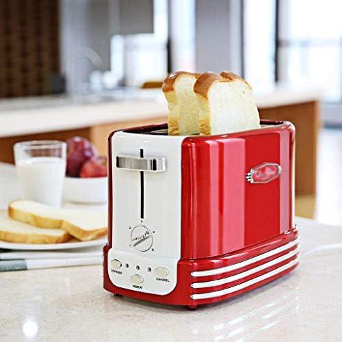 JYDQB Grille-Pain à 2 tranches, Toasters Pain Compact avec 5 paramètres Browning boîtier en Acier Inoxydable, Amovible Tiroir ramasse-miettes, Rouge