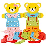 F-blue Children Kids Educational Toy Early Learning Resources Wooden Bear Change Clothes Dress Up Lacing Toys