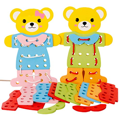 F-blue Children Kids Educational Toy Early Learning Resources Wooden Bear Change Clothes Dress Up Lacing Toys by F-blue
