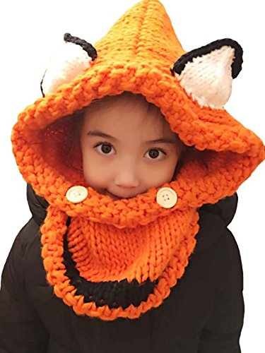 [D-Foxes Warm Winter Baby Kids Hat Crochet Knitted Caps Coif Hood Scarves Skull Fox Animal Earflap Beanies] (Fox Hat Costume)