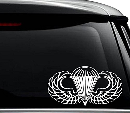US Army Airborne Paratrooper Decal Sticker For Use On Laptop, Helmet, Car, Truck, Motorcycle, Windows, Bumper, Wall, and Decor Size- [6 inch] / [15 cm] Wide / Color- Gloss White