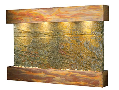 - Sunrise Springs Water Feature with Rustic Copper Trim and Square Edges (Natural Green Slate)