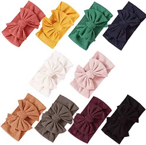 Baby Girl Nylon Headbands Newborn Infant Toddler Hairbands Bow Knotted Children Soft Headwrap Hair Accessories (Multicolor Cset6(10pcs), nylon)