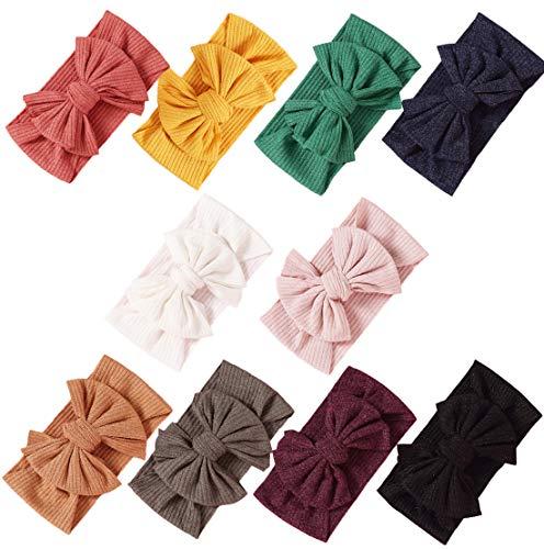 Baby Girl Nylon Headbands Newborn Infant Toddler Bow Hairbands Soft Headwrap Children Hair Accessories (10PACK-MUL6)