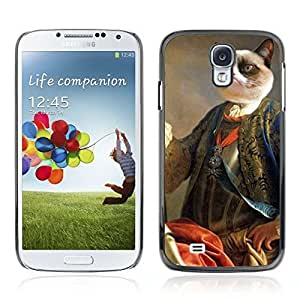 Colorful Printed Hard Protective Back Case Cover Shell Skin for Samsung Galaxy S4 IV (I9500 / I9505 / I9505G) / SGH-i337 ( Funny Grumpy Kitty Cat Royalty )