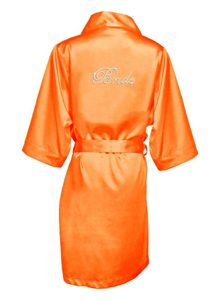 Rhinestone Bride Satin Robe Style DBBRRB, Tangerine, S/M