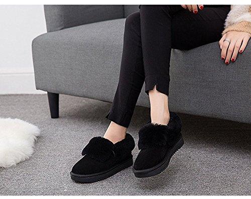 Coton Femme À D'epissage Avec Chaussure Chaude Botte Bottine Légère De Velours Jrenok D'hiver Enfiler Noir qwSaEnB