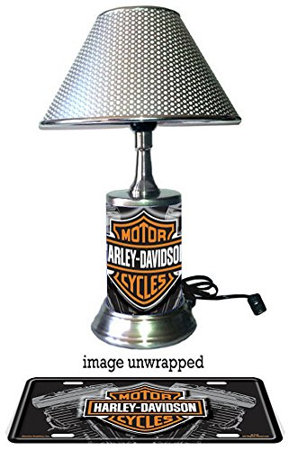 Harley-Davidson lamp with chrome shade, Vtwin Harley Davidson Desk Lamp