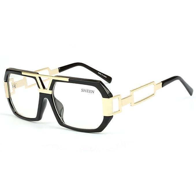 SHEEN KELLY Oversized Hombres Gafas de sol cuadradas Vintage Gafas Retro Glasses Mujeres