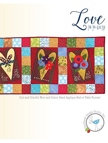 Love for You and Me: Cool and Colorful Wool and Cotton Hand Applique Bed or Table Runner