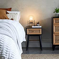 Bedroom COZAYH Fully-Assembled Modern Farmhouse Clean-Lined Nightstand, End Table with 1 Drawer, Black farmhouse nightstands