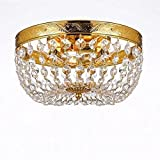 French Empire Crystal Flush Basket Chandelier Chandeliers Lighting H5 X W13
