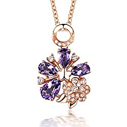 Rose Gold Diamond Amethysts Pendant Necklace