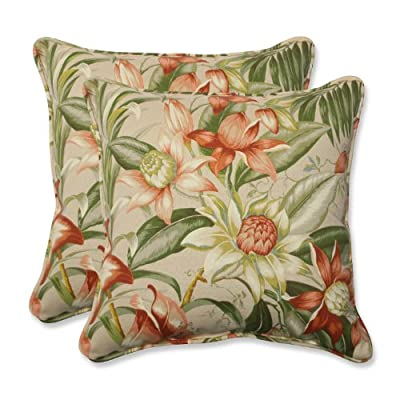 "Pillow Perfect Outdoor/Indoor Botanical Glow Tiger Stripe Throw Pillows, 18.5"" x 18.5"", Floral 2 Pack - Includes two (2) outdoor pillows, resists weather and fading in sunlight; Suitable for indoor and outdoor use Plush Fill - 100-percent polyester fiber filling Edges of outdoor pillows are trimmed with matching fabric and cord to sit perfectly on your outdoor patio furniture - living-room-soft-furnishings, living-room, decorative-pillows - 51Zaj0s9IWL. SS400  -"