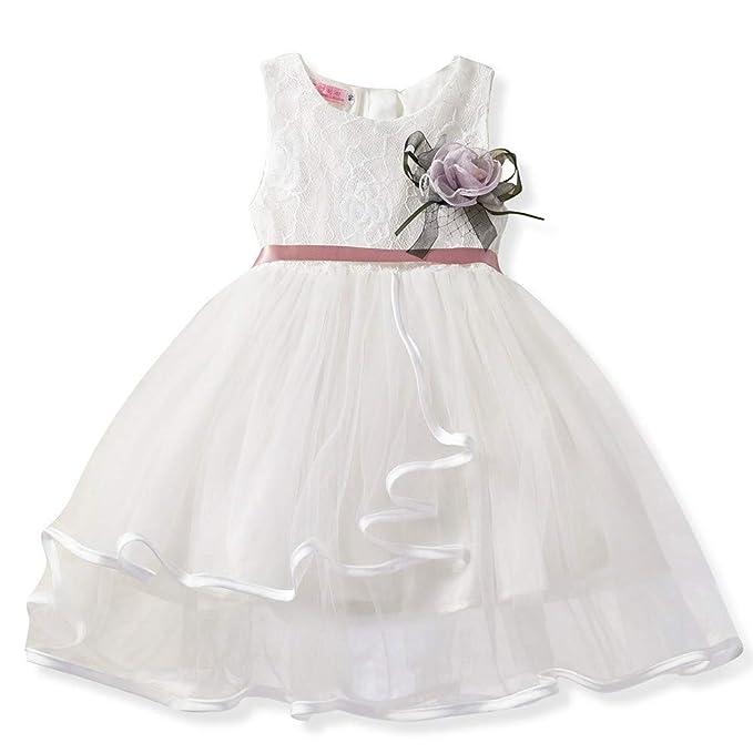 Jimmackey Neonata Bambine Pizzo Fiore Vestito Volant Irregolare Tulle Principessa  Tutu Abito Damigella Partito Lungo Dress  Amazon.it  Abbigliamento d8f0a7600fc