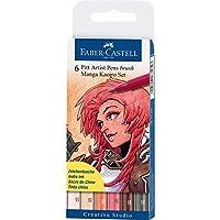 Faber-Castell AG167134 6-Pieces Pitt Artist Pen Brush Manga Set, Kaoiro