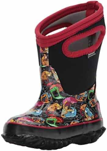 Bogs Classic High Waterproof Insulated Rubber Neoprene Rain Boot Snow, Kid Car Print/Black/Multi, 8 M US Toddler