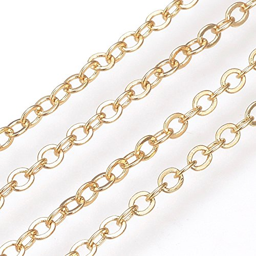 - 18k Gold Filled Over Brass Cable Chain Spool for Jewelry Making (1 x 1.5mm) 1.2mm