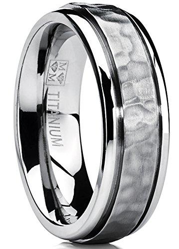 Hammered Men's Titanium Wedding Band Engagement Ring 7mm Comfort Fit Size 11