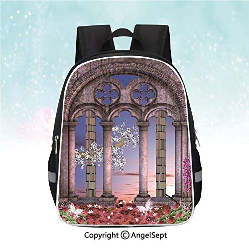 Schoolbag for Kids,Ancient Colonnade in Secret Garden with Flowers at Sunset Enchanted Forest,13