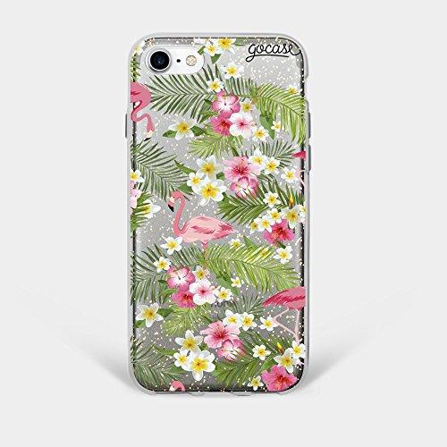 Capinha para iPhone 8 Gocase - Flamingos e Flores - Glitter Gold