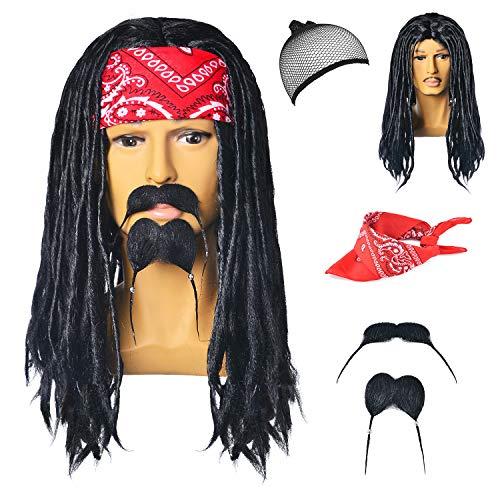 70s 80s 90s Men's Disco Halloween Rock Star Wig Costume Cosplay with Bandana Moustache