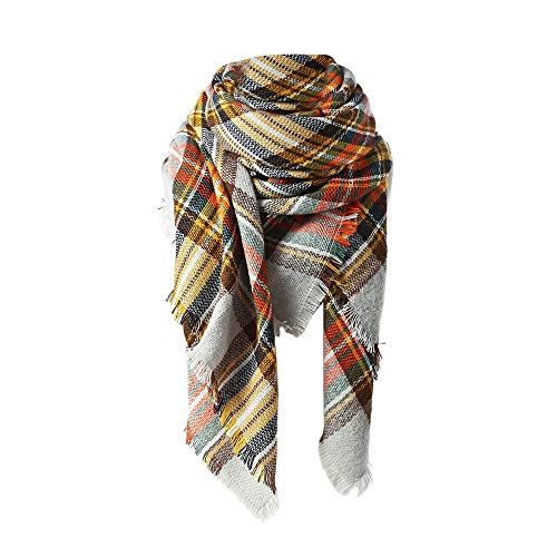 Spring Fever Winter Magnetic Knit Tartan Plaid Wrap Cashmere Feel Large Lightweight Scarf for Women A01 -