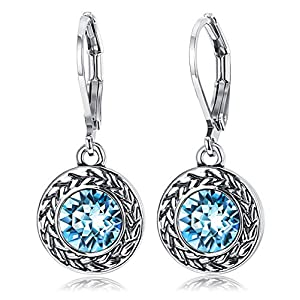 KesaPlan Crystal Lever-Back Drop Earrings Surrounded by Textured Bezel for Women, Made from Swarovski Crystals