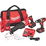 Milwaukee M18 18 Volt Tool Kit Includes Drill, Sawzall, 2 Batteries, Charger, Tool Bag, Drill Bits/Blades - 2694-22CX