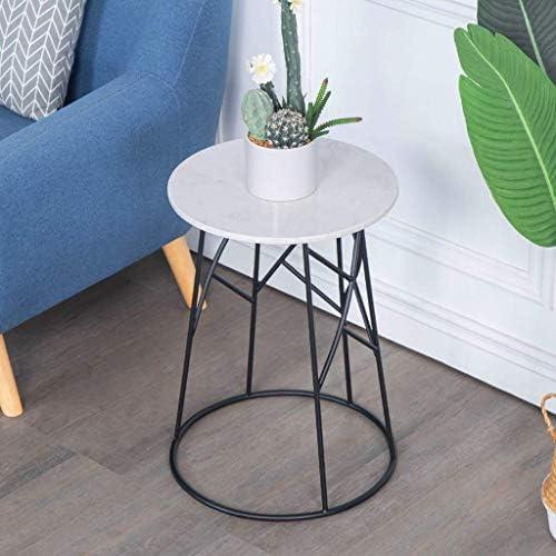 Snelle Express GWFVA Marmer salontafel, smeedijzeren bijzettafel, bijzettafel, sofa, nachtkastje, dubbellaags opbergdesign, voor woonkamer of kantoor, kleine ronde tafel (43 × 43 × 62 cm)  6Hf1Cwa