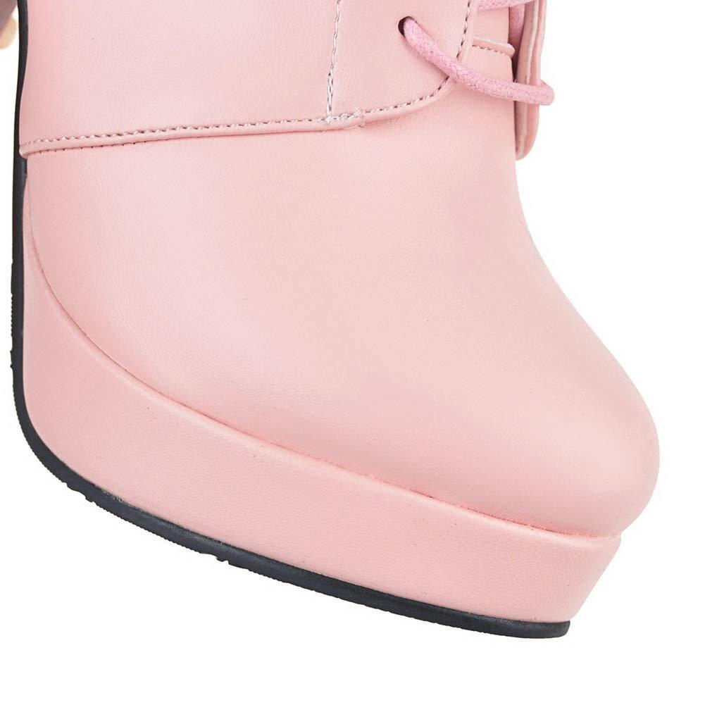 AN Womens Chunky Heels Platform Bandage Urethane Boots DKU02073