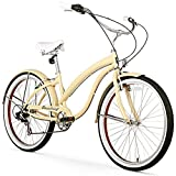 Firmstrong Bella Fashionista 7-Speed Beach Cruiser Bicycle, 26-Inch, Vanilla