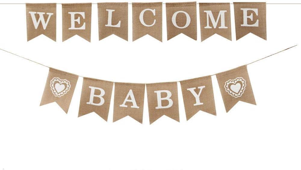 DIYARTS Willkommen Baby Banner Rustikale Sackleinen Banner Geschenk Baby Dusche Banner Girlande Girlande F/ür Baby Dusche Engagement Hochzeit Brautdusche Party Dekorationen