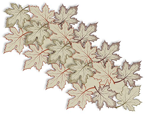 DII Polyester Placemat, Set of 4, Embroidered Maple Leaves - Perfect for Fall, Thanksgiving, Friendsgiving and Dinner Parties