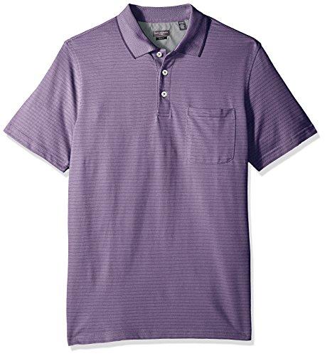 Van Heusen Men's Size Slim Fit Flex Short Sleeve Stretch Stripe Polo Shirt, Purple Dusty Lilac, 3X-Large Tall
