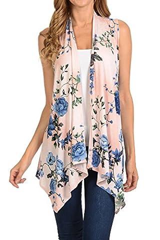 Shamaim Womens Womens Sleeveless Draped Open Front Cardigan Print # 13 3X-Large - Draped Sleeveless