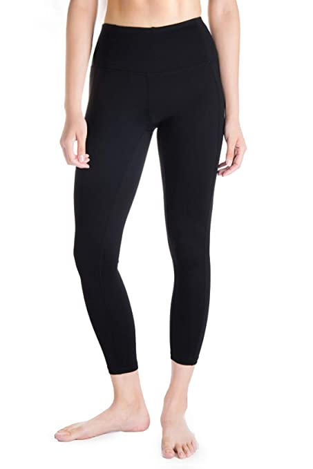 d345cc2b06 Yogipace Tall Women's High Waisted 7/8 Tights Cropped Length Leggings with  Hidden Pockets,