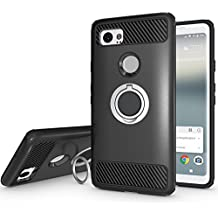 Newseego for Google Pixel 2 XL Case with Armor Dual Layer 2 in 1 with Extreme Heavy Duty Protection and Finger Ring Holder Kickstand Fit Magnetic Car mount for Google Pixel 2 XL-Black