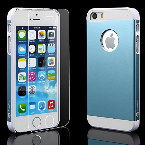 iPhone 5S Case Plus Glass Screen Protector: Amplim New Luxury Blue Color Hard Aluminum Metal + White Plastic + Soft Silicone Rubber 3-Layer Back Slim Shell (APPLE-PHONE-5-Cover-PROTECTIVE-DUAL-UB)