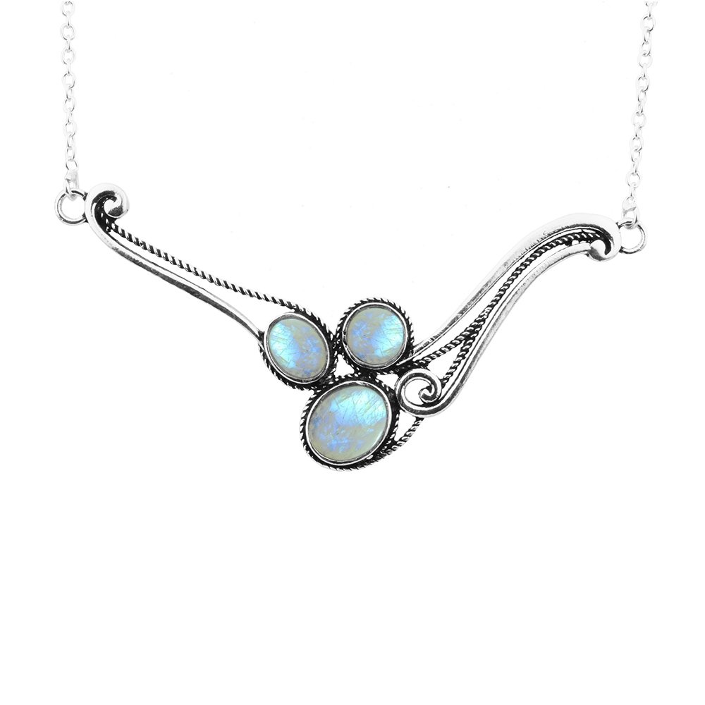 5.60ctw Genuine Rainbow Moonstone & 925 Silver Plated Necklace