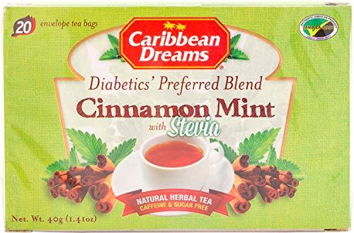 Caribbean Dreams Cinnamon Mint Tea, 20 Tea Bags, Diabetics Tea, Natural Herbal Tea, Caffeine Free, Sugar Free ()