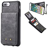DAMONDY iPhone 7 Plus,iPhone 8 Plus, Luxury Wallet Purse Card Holders Design Cover Soft Shockproof Bumper Flip Leather Kickstand Magnetic Clasp With Wrist Strap Case for iPhone 8 Plus/7 Plus-gray
