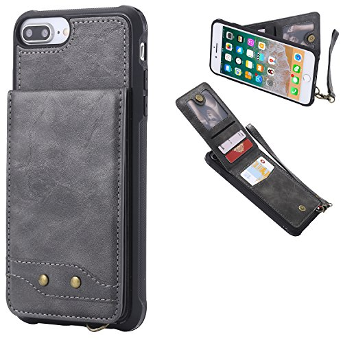 DAMONDY iPhone 7 Plus,iPhone 8 Plus, Luxury Wallet Purse Card Holders Design Cover Soft Shockproof Bumper Flip Leather Kickstand Magnetic Clasp With Wrist Strap Case for iPhone 8 Plus/7 Plus-gray by DAMONDY